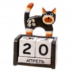 Календарь настольный Кошка h=16 см.(дерево албезия)