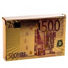 """Карты для игры в покер """"500 евро"""" золото, цвет (уп. 10 колод) (пластик)"""