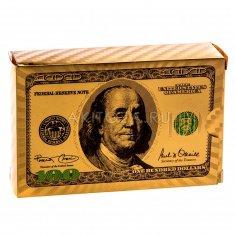 """Карты для игры в покер """"100$"""" золото, цвет (уп. 10 колод) (пластик)"""