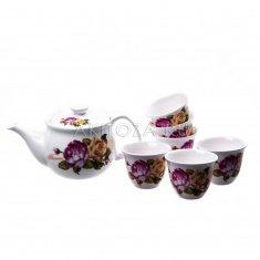Чайный набор - чайник и 6 пиал в подарочной упаковке Розы (керамика)