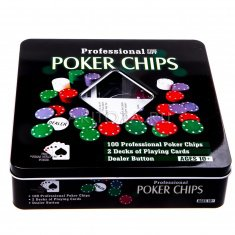 Набор для покера с номиналом 20x20 см.(металл) (кор. 18 шт.)