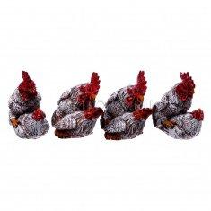 Петух с курицей (набор 4 шт.) h=8 см. (полистоун)