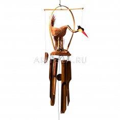 Музыка ветра Аист на кокосе 50 см (бамбук)