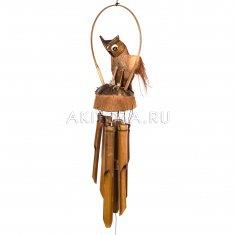 Музыка ветра Сова на кококсе (дерево, бамбук)