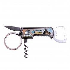 Нож с открывалкой складной оранж. Псков (в кор. 300 шт., в уп.12 шт.)