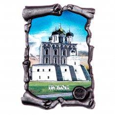 Магнит-свиток 7х4,5 см Псков Церковь серебро (уп. 12 шт.)