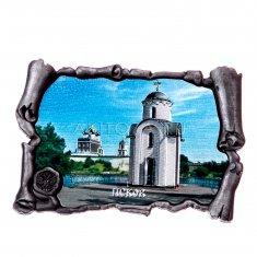Магнит-свиток 7х4,5 см. Псков (цвет-серебро) (уп. 12 шт.)