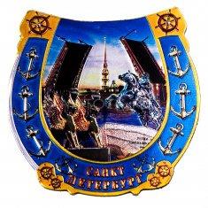 Магнит-подкова 7 см. СПб-Грифоны, Мост, Всадник (фольга)
