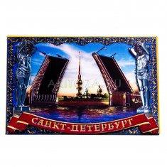 Магнит 3D 6x8 см. СПб-Мост синий (фольга) (уп. 10 шт., кор. 500 шт.)