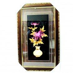 Картина с соломкой 35х57 см. Ваза с хризантемой (цв.)