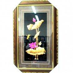 Картина с соломкой 35х57 см. Лилия, стрекоза (цв.)
