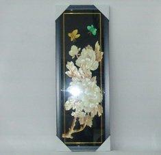 Картина с соломкой 30х77 см. Пионы, бабочки (цв.)