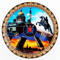 Тарелка 15 см. СПб-3 в 1-Исакий, Всадник, Мост) (фарфор) (кор.72 шт.)