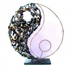 Светильник 45 см Инь-Янь(плафон кругл.) (металл, бамбук, крошк.) в ассорт.
