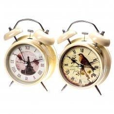 Часы - будильник 16 см.  d=9 см. (беж. в ассорт.)