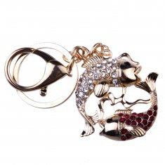 Брелок со стразами Рыбы (цвет-золото)