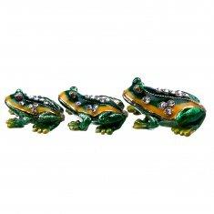 Шкатулки Лягушки 4,5,6 см (набор 3 шт.) (металл, стразы)