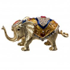 Шкатулка Слон l=15 см, h=9 см (металл, стразы)