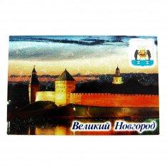 Магнит-открытка блёстки  В.Новгород-Кремль