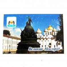 Магнит-открытка блёстки В. Новгород-Софийский Собор (фиол.)  (уп. 125 шт)