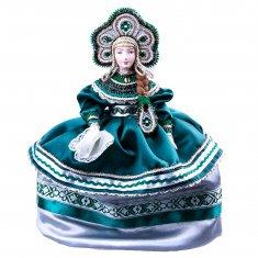 Кукла на чайник в русском народном костюме h=30 см. (фарфор, текстиль)