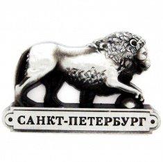 Магнит  фигурный 8x8 см. СПб-Лев (серебро)