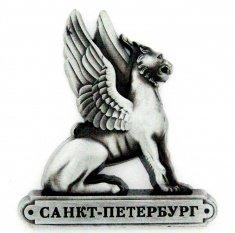 Магнит  фигурный 8x7 см. СПб-Сфинкс (серебро) (уп. 12 шт.)