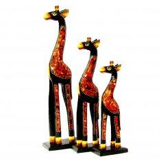 Жирафы (набор 3 шт.) h= 50,40,30 см. (цвета в ассорт.)  (дерево, стекло)