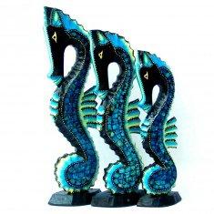 Морской конёк (набор 3 шт.) h=40,35,30 см. (цвета в ассорт.)(дерево,стекло)