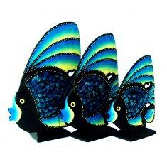 Рыбы (набор 3 шт.) h=25,20,15 см. (цвета в ассорт.) (дерево, стекло)