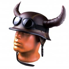 Шлем Мотоциклетный с рогами коричневый (без очков)