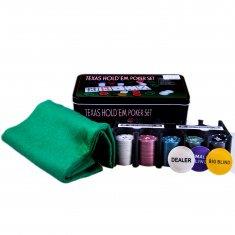 Набор для покера с сукном и номиналом 23x15 см.(металл) (кор. 12 шт.)