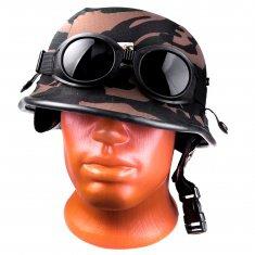 Шлем Мотоциклетный камуфляж темно-зеленый (с очками)