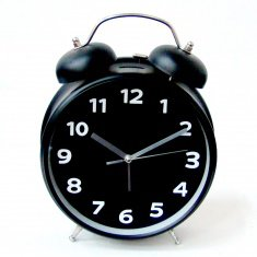 Часы - будильник (черный.) 30 см.  d=20 см. (кор. 10 шт.)