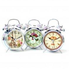 Часы - будильник h=16 см.,  d=9 см. (в ассорт.) (серебро)