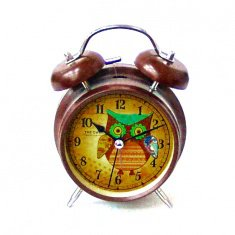 Часы - будильник h=16 см.,  d=9 см.  (коричн.) 05-17-AKE