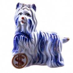 Собака с долларом h=13 см. (фарфор) (кор. 60 шт.)