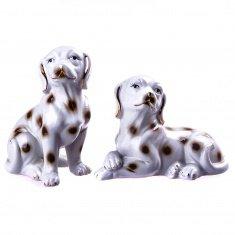 Собаки (набор 2 шт.) h=11; 14 см. (фарфор) (кор. 48 наб.)