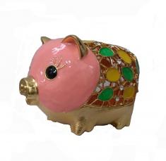 Шкатулка Свинка l=10,5 см., h=8 см. (металл, стразы)