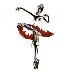 Брошь со стразами Балерина (цвет-золото)