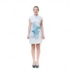Платье белое с голубым павлином (шелк) ХХL 10-2-AKC