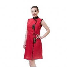 Платье красное короткое (ткань) 40