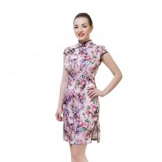 Платье розовое в мелкий цветок (шелк) XXL