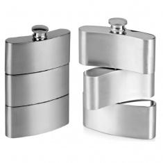 Фляга 9 oz тройная крутящаяся серебро (кор. 100 шт.)