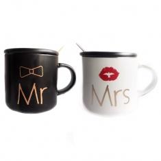 Кружка с крышкой и ложкой Mr, Mrs