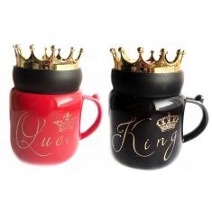 Кружка с крышкой Queen, King