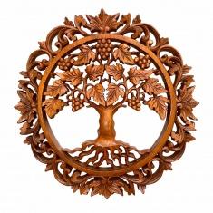 Панно древо виноград (в резном круге) 30 см (дерево суар) 02-30-AR