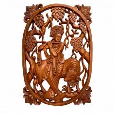 Панно Кришна с флейтой  (овальное) 40х28 (дерево суар) 10-40- AR