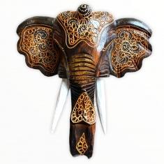Голова слона 25 см. (темно-коричневая) (дерево)