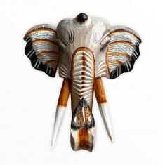 Голова слона 25 см (белая) (дерево)